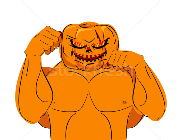 Strong Pumpkin fighter ready for battle. Halloween character wit Stock photo © MaryValery
