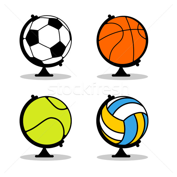 Sports Globe set. Balls in Earth sphere. Basketball and football Stock photo © MaryValery