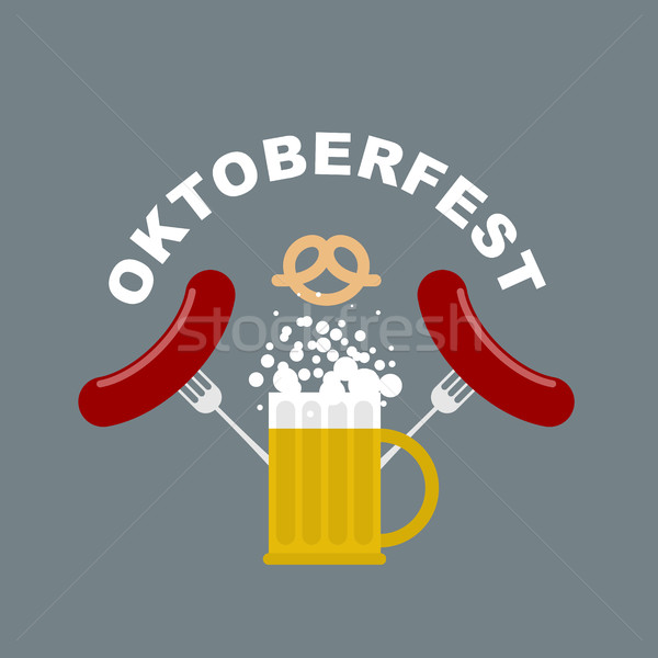 Oktoberfest logo. Beer mug with foam. Fried sausages and fork.  Stock photo © MaryValery
