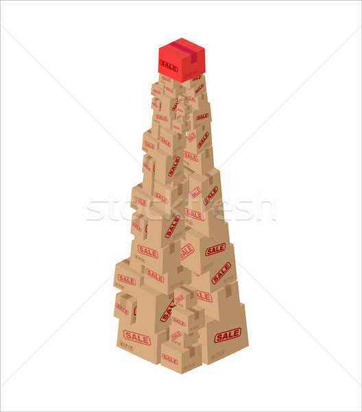 Christmas sale box. fir-tree of gifts. New Year discount. Holida Stock photo © MaryValery