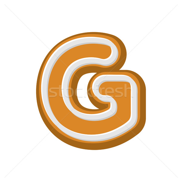 Letter G Gingerbread. Peppermint honey-cake font. Cookies alphab Stock photo © MaryValery