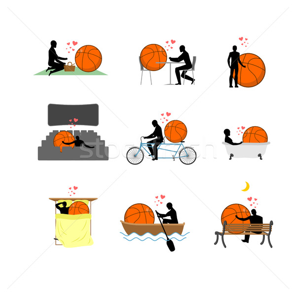 Lover Basketball set. Man and ball in movie theater. Lovers in b Stock photo © MaryValery
