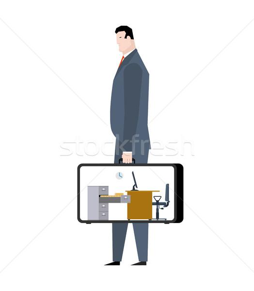 Kantoor geval mobiele werkplek koffer manager Stockfoto © MaryValery