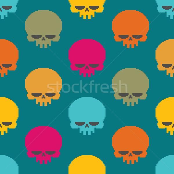 череп Пиксели искусства голову скелет Сток-фото © MaryValery