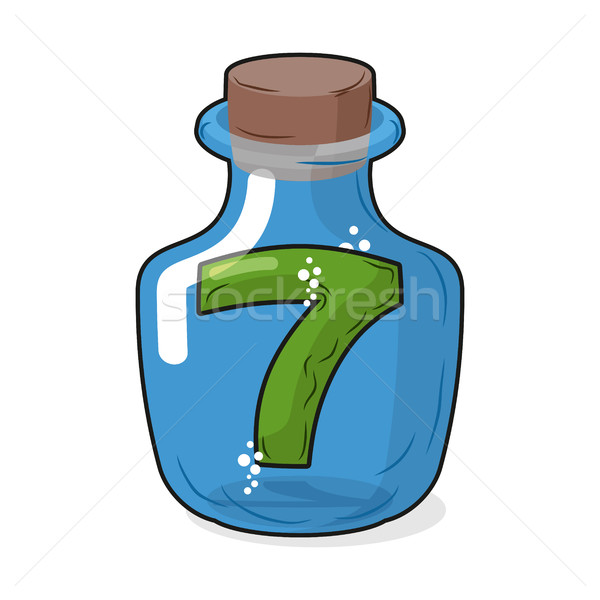 Seven scientific bottle for laboratory research. Figure 7 magic  Stock photo © MaryValery
