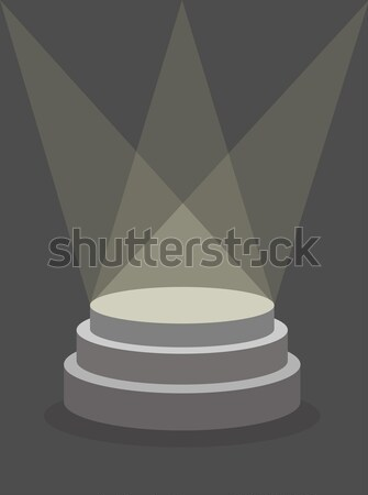 Round Pedestal on a dark background, illuminated by floodlights. Stock photo © MaryValery