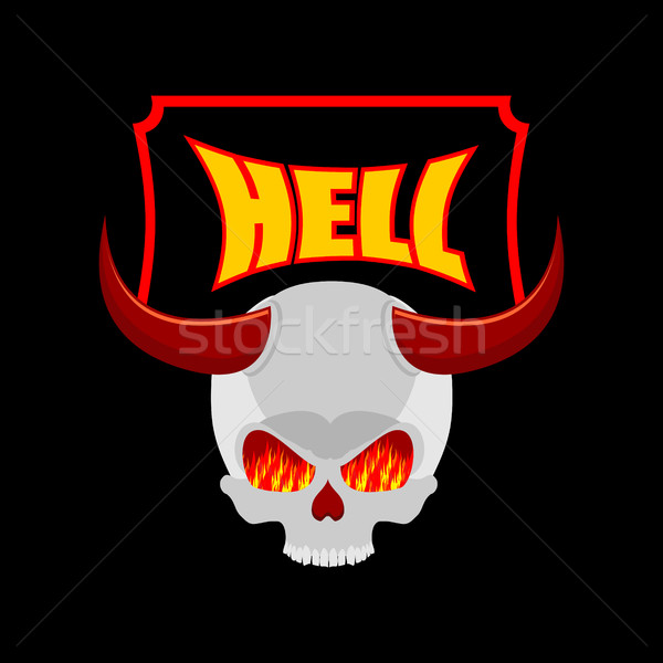 Welcome to hell. Plate for door. Satans skull with horns. In eye Stock photo © MaryValery