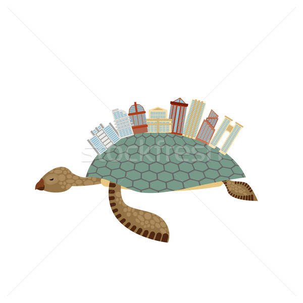 City on turtle. Building on animal reptiles. Fantastic city. Vec Stock photo © MaryValery