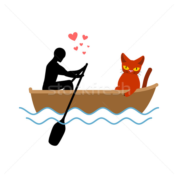 Cat lover boat. my kitty. Lovers of sailing. Pet and guy. Romant Stock photo © MaryValery