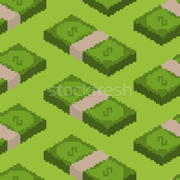 Pénz pixel művészet végtelen minta pixeles pénz Stock fotó © MaryValery
