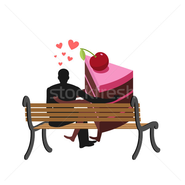 Lover of cakes. Man and piece of cake Sitting on bench. Lovers.  Stock photo © MaryValery