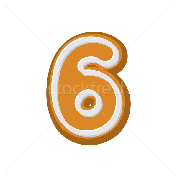 Number 6 Gingerbread font. Peppermint honey-cake ABC six. Cookie Stock photo © MaryValery