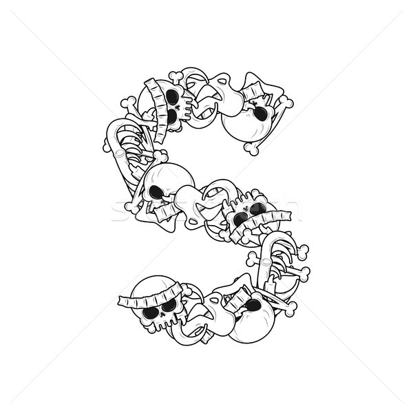 Letter S skeleton Bones Font. Anatomy of an alphabet symbol. dea Stock photo © MaryValery