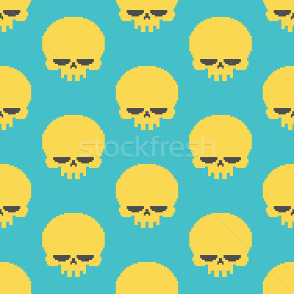 Skull pixel art seamless pattern. head of skeleton pixelated bac Stock photo © MaryValery
