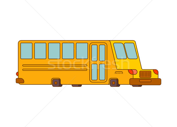 School bus contour style isolated. Yellow bus for transportation Stock photo © MaryValery