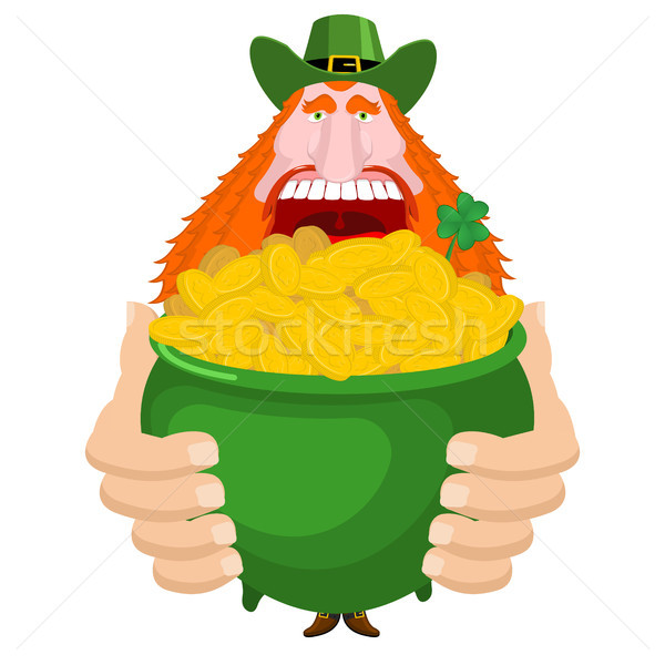 St. Patrick's Day. Leprechaun and pot of gold. Magic dwarf and b Stock photo © MaryValery