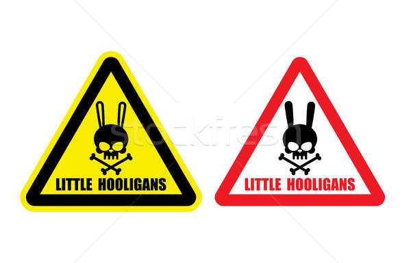 Warning, danger sign. Gently little hooligans. Vector illustrati Stock photo © MaryValery