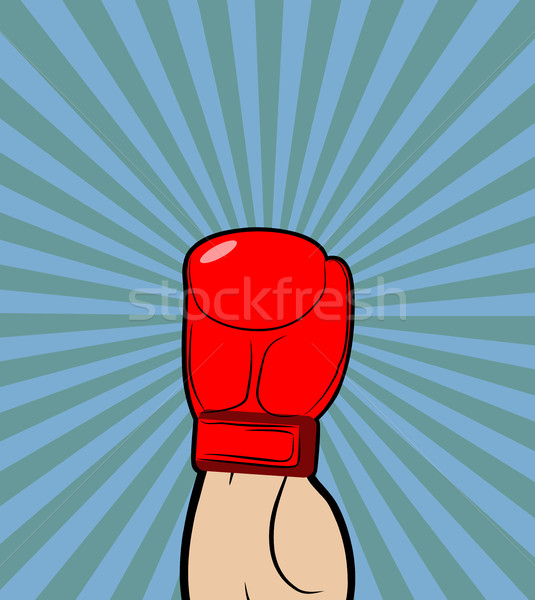 Hand in Boxing Glove. Winner, boxing champion raised his hand up Stock photo © MaryValery