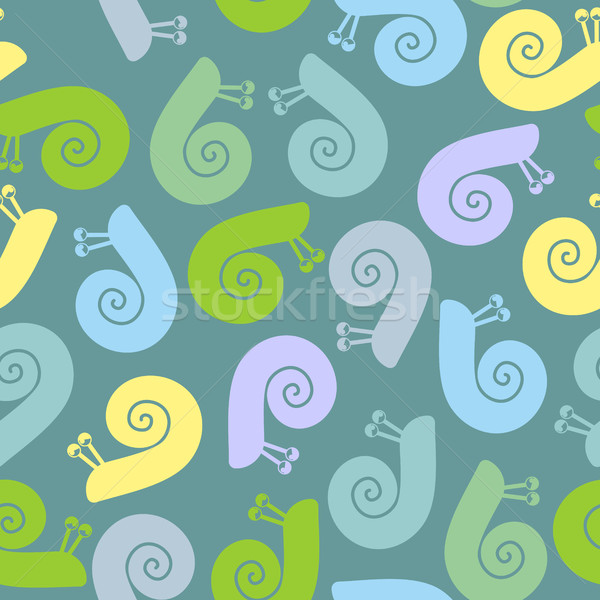 Silhouette  snail with spiral shell. Vector seamless texture. Stock photo © MaryValery