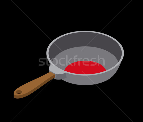Frying pan isolated isometry. Fry dishes on white background Stock photo © MaryValery