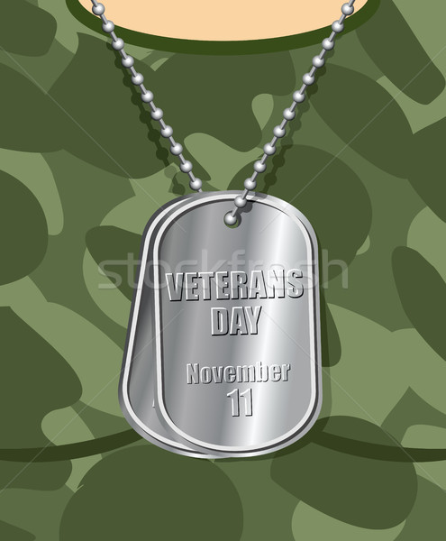 Day veteran. Army badge on his chest from soldier. Military t-sh Stock photo © MaryValery