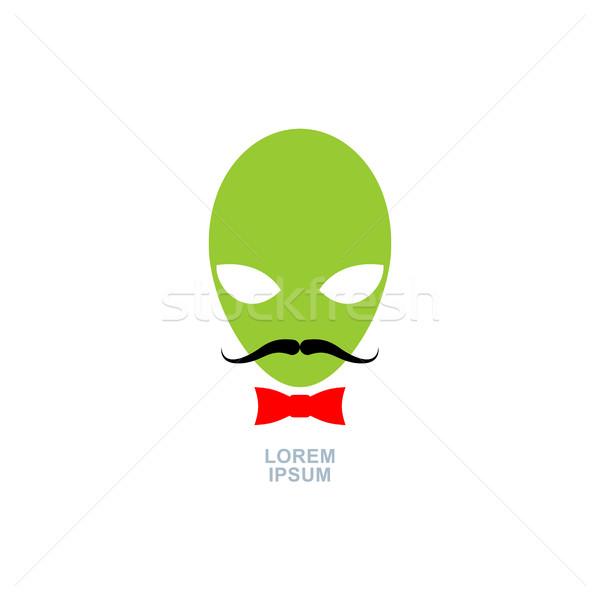 Verde exóticas bigote logo plantilla ufo Foto stock © MaryValery
