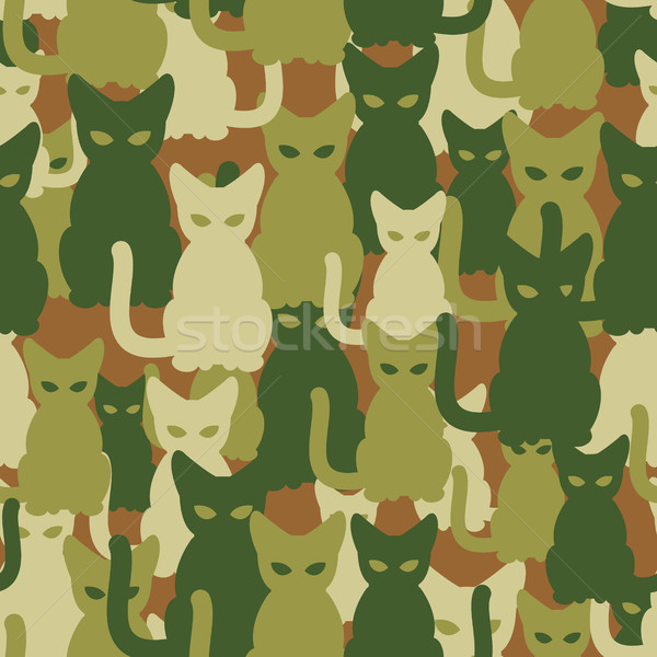 Military texture of cats. Army seamless pattern from pets. Prote Stock photo © MaryValery