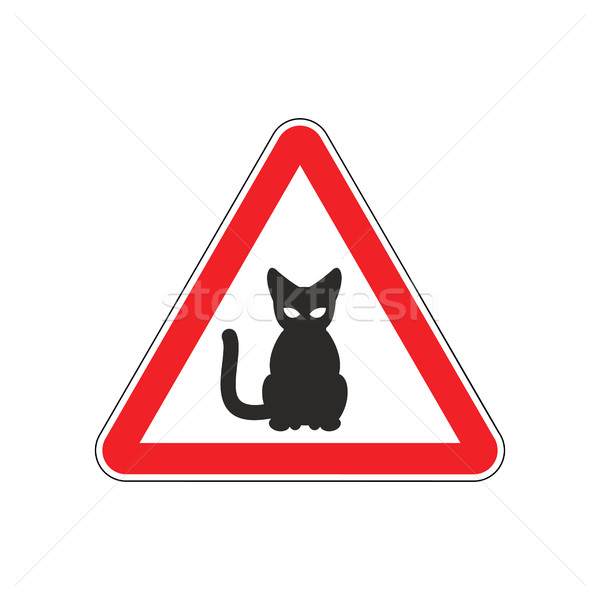 Attention chat danger rouge panneau routier animal Photo stock © MaryValery
