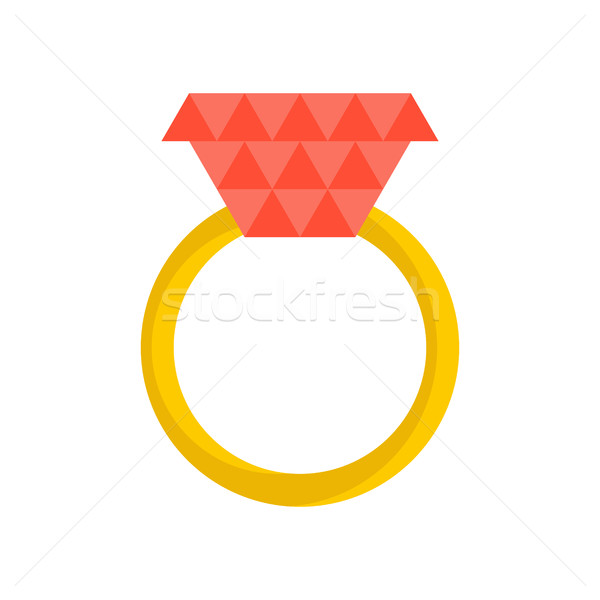 Gold ring with ruby isolated. Jewelry on white background Stock photo © MaryValery