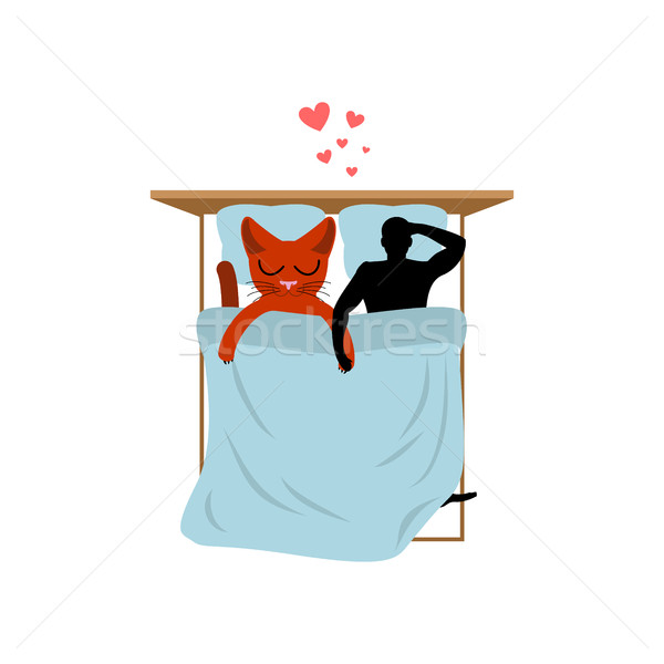 Cat lover in bed. my kitty. Lovers in Bedroom. Pet and guy. Roma Stock photo © MaryValery
