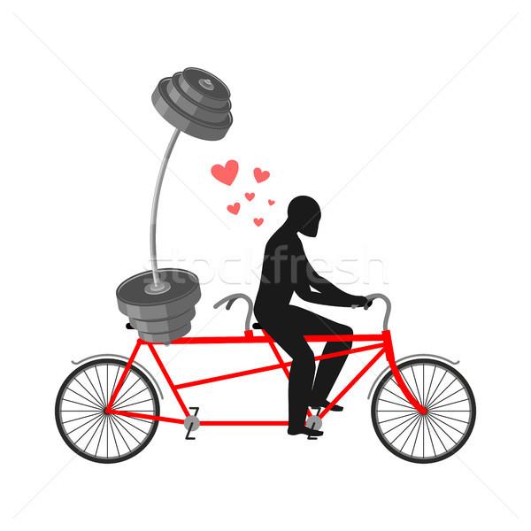 фитнес человека штанга велосипед ходьбы Сток-фото © MaryValery