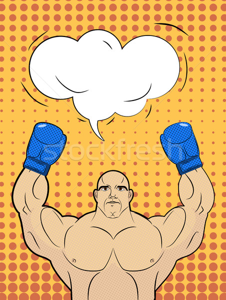 Boxer-style pop art with a bubble over his head. Strong man rais Stock photo © MaryValery