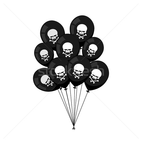 Black balloons. Skull with bones. Mourning, sad party accessorie Stock photo © MaryValery