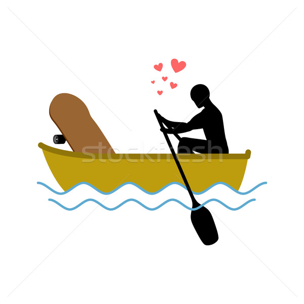 Lover skateboarding. Skateboard and guy ride in boat. Lovers of  Stock photo © MaryValery