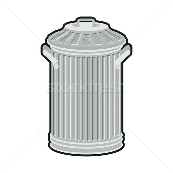 мусорное ведро изолированный белый железной Сток-фото © MaryValery