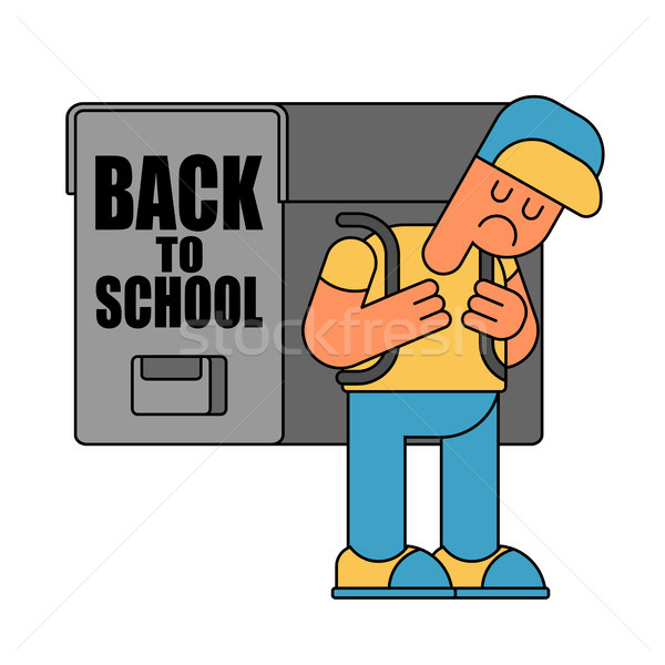 Back to school. sad Boy and Backpacks. Illustration for Septembe Stock photo © MaryValery