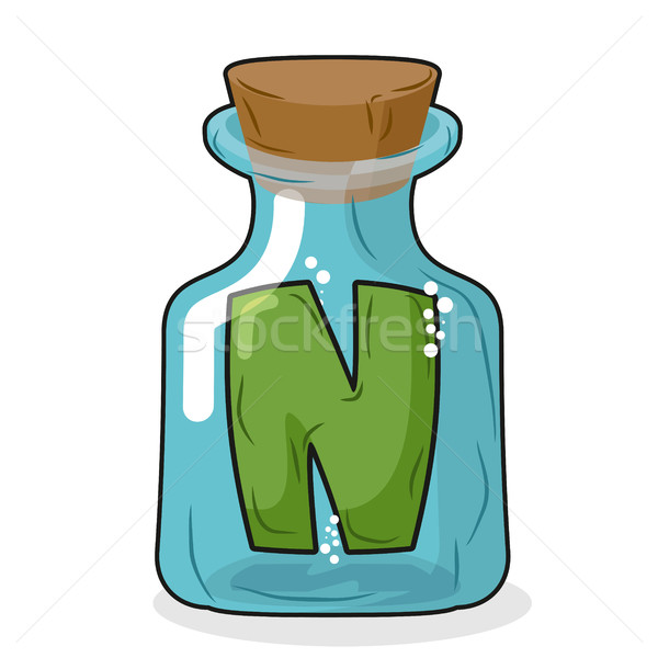 N in magical bottle. Letter in a bottle for laboratory and scien Stock photo © MaryValery