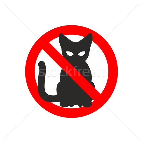 Stop cat. Vector sign No cats. Ban pet. Black cat silhouette. Si Stock photo © MaryValery