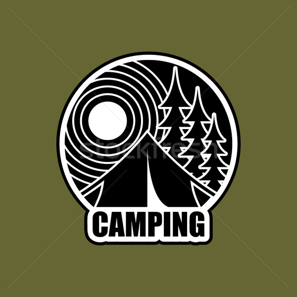 Camping logo emblema alojamiento campamento paisaje Foto stock © MaryValery
