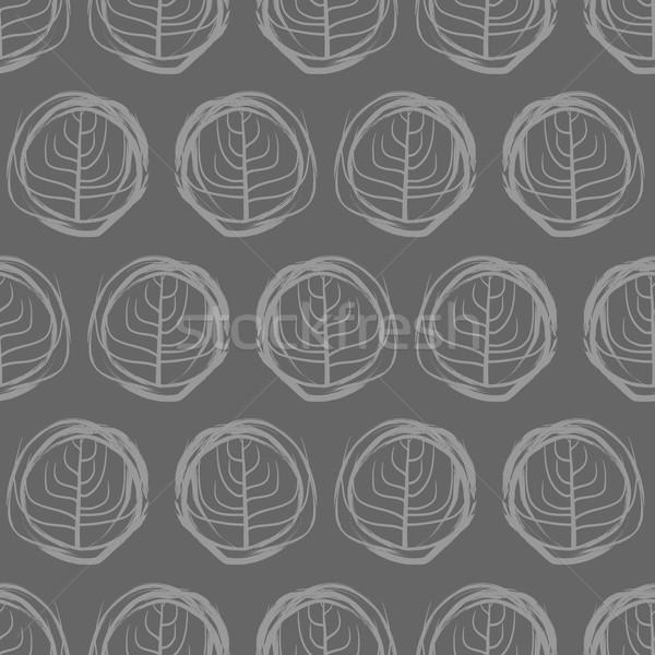 Dekoracyjny rysunki circles szary drzew Zdjęcia stock © MaryValery
