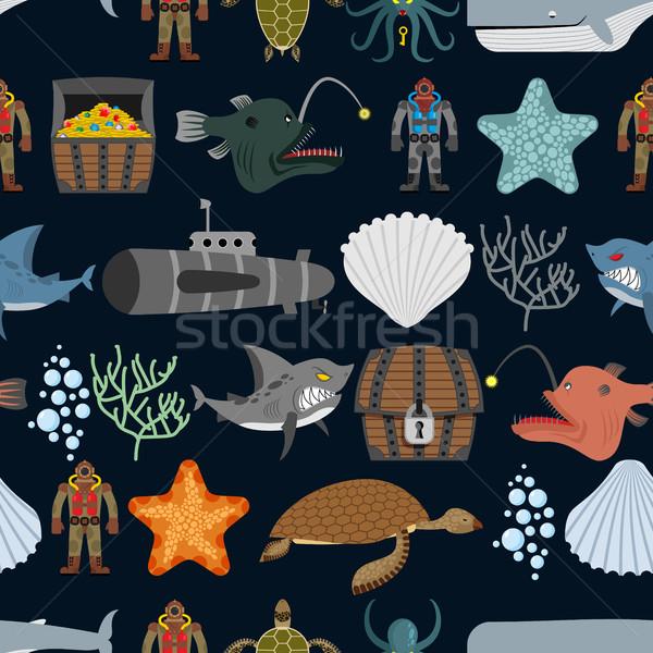 Ocean seamless pattern.  Ocean inhabitants. Starfish and shark o Stock photo © MaryValery