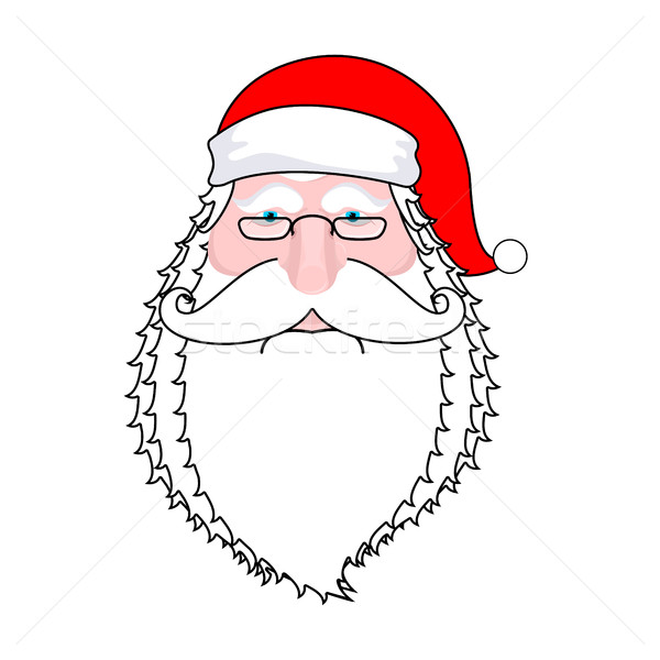 Mikulás arc izolált szakáll bajusz piros Stock fotó © MaryValery