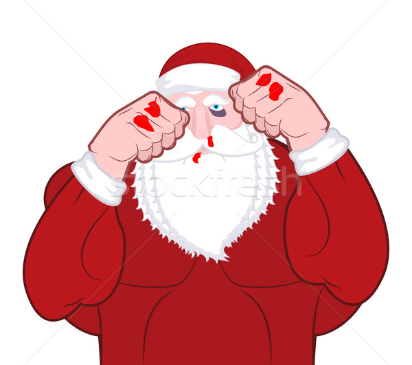 Beaten Santa Claus fighter. Father Christmas beats fists. Old ma Stock photo © MaryValery