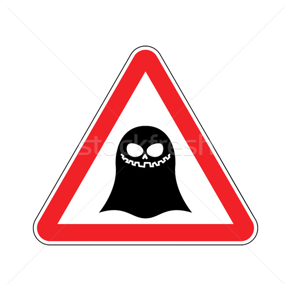 Attention ghost. Dangers of red road sign. spook Caution Stock photo © MaryValery