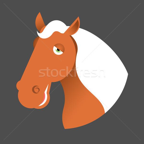 Czerwony konia głowie kaganiec odizolowany biały Zdjęcia stock © MaryValery