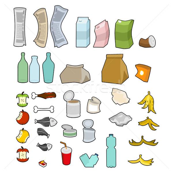 мусор икона коллекция мусора набор мусор Сток-фото © MaryValery
