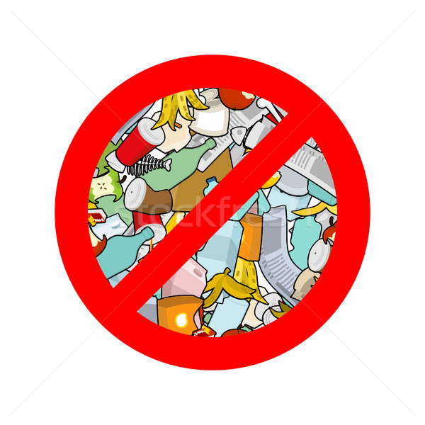 Stop littering. Ban garbage. It is forbidden to litter. red circ Stock photo © MaryValery