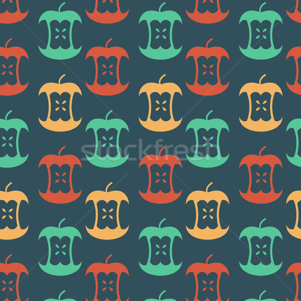 Apple core seamless pattern.  Fruit trash ornament. Rubbish back Stock photo © MaryValery