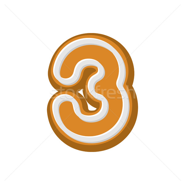 Number 3 Gingerbread font. Peppermint honey-cake ABC three. Cook Stock photo © MaryValery
