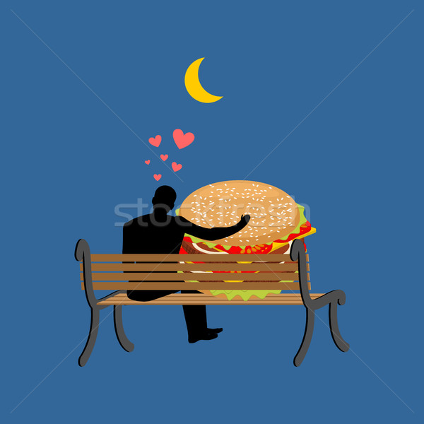 lover fast food. Man and hamburger sitting on bench. Guy and Bur Stock photo © MaryValery